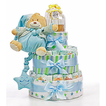 Large Blue Nappy Cake