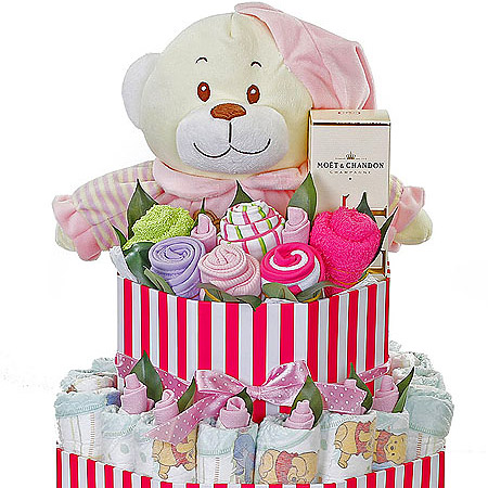 Large Pink Striped Box Nappy Cake