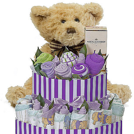 Large Purple Striped Box Nappy Cake