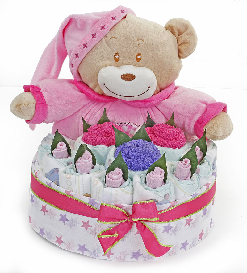 Jamie Pink Nappy Cake - Click Image to Close