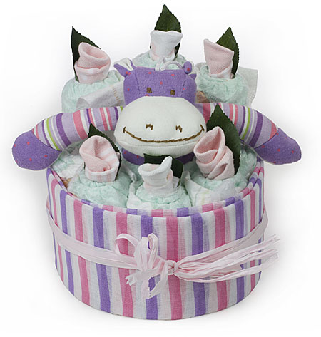 Purple Hippo Nappy Cake