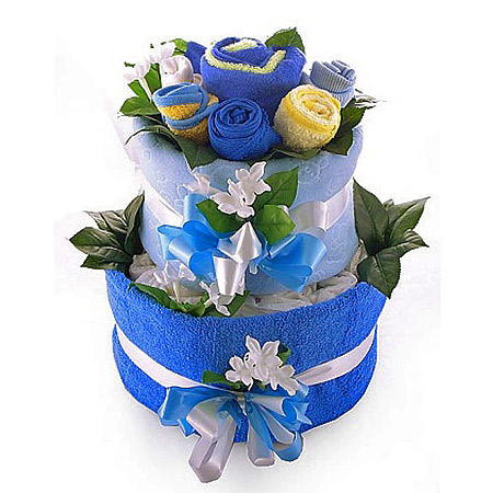 Nappy Cake & Baby Bouquet for a Boy