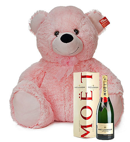 Large Pink Bear with Moet