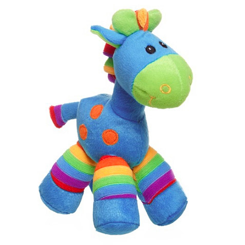Rainbow Giraffe in Blue Stripes
