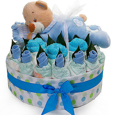 Boys Sleeping Bear Nappy Cake