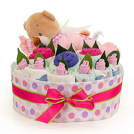 Girls Sleeping Bear Nappy Cake