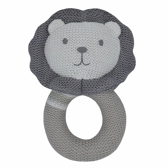 Austin the Lion Knitted Rattle Comforter