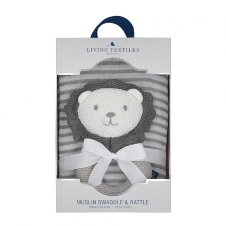 Austin The Lion Rattle & Muslin Gift Set