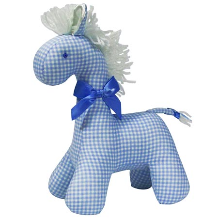 Kate Finn Chequered Blue Horse