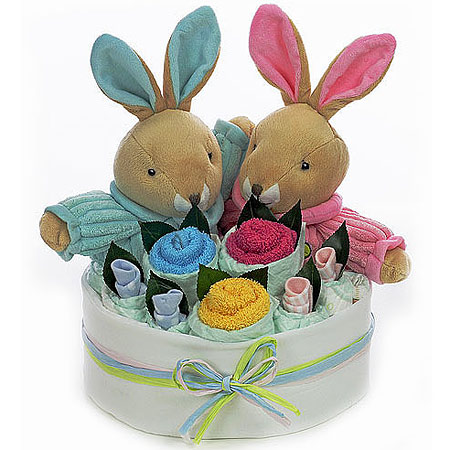 Twin Boy and Girl Rabbit Bouquet