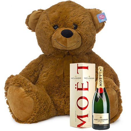 Large Brown Bear with Moet