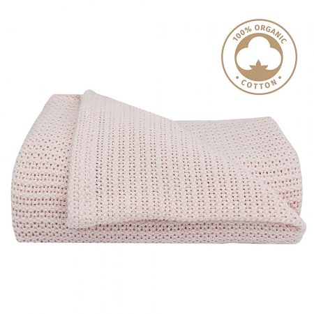 Cellular Organic Cotton Cot Blanket in Rose