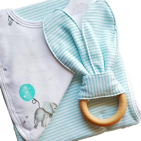 Bib, Burp Cloth & Teether Set - Aqua