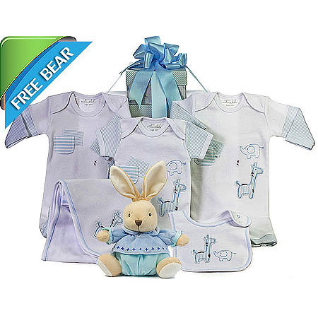 Emotion and Kids Light Blue Gift Set with Plush Rabbit