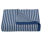 Living Textiles Cotton Knit Striped Blanket in Navy