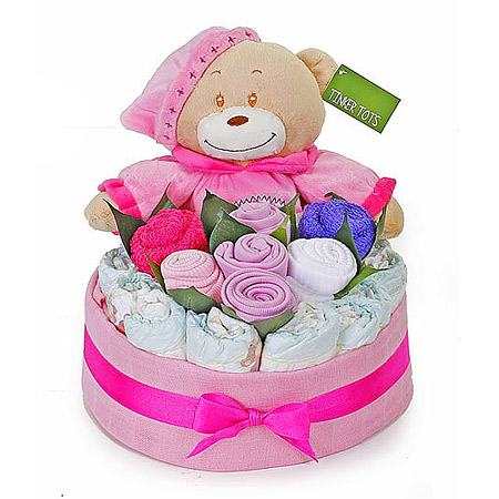 Bedtime Nappy Cake Bouquet Girl