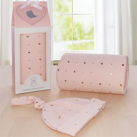 Rose Gold Hearts Swaddle Me Gift Set
