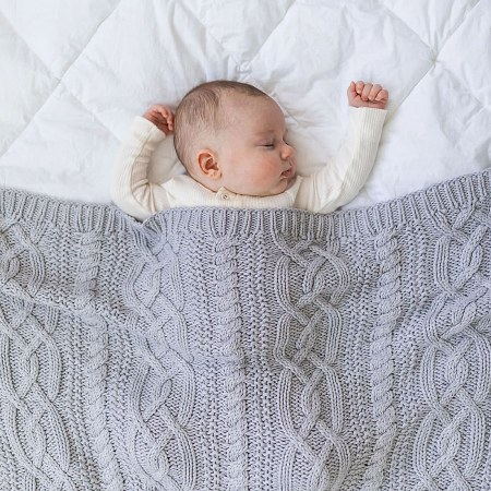 Reilly Grey Cable Knit Blanket