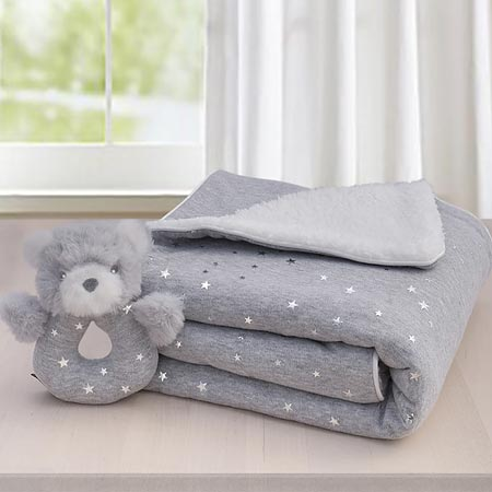 Silver Star Sherpa Blanket & Rattle