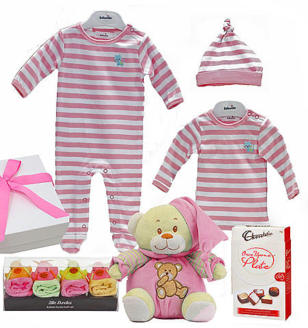 Pink Stripes with Blue Cat Giftset