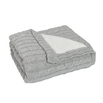 Knit Sherpa Blanket in Grey