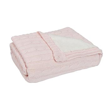 Knit Sherpa Blanket in Pink