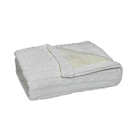 Knit Sherpa Blanket in White