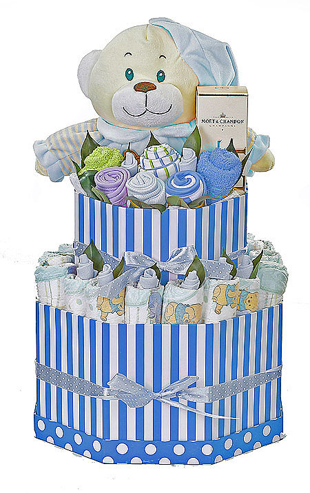 Large Blue Striped Box Nappy Cake