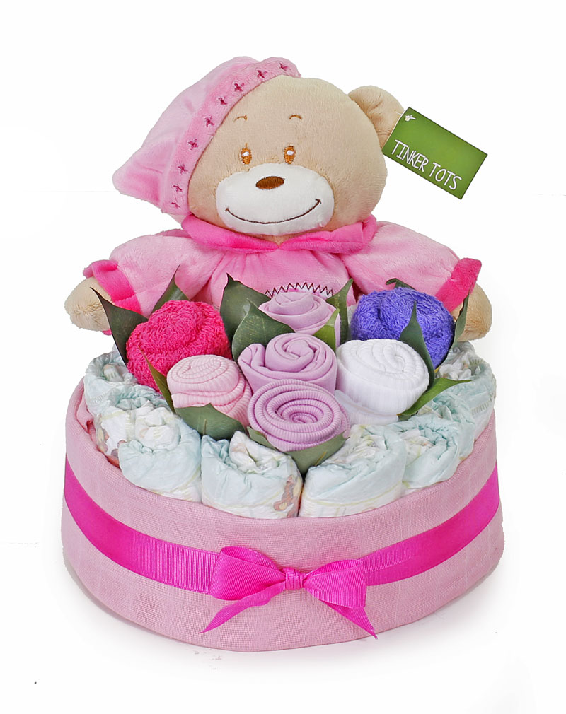 Bedtime Nappy Cake Bouquet Girl - Click Image to Close