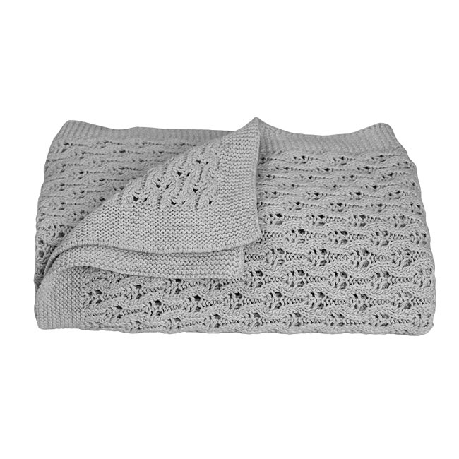 Lattice Baby Shawl in Grey