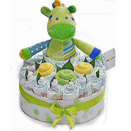 Baby Boo Green Nappy Cake