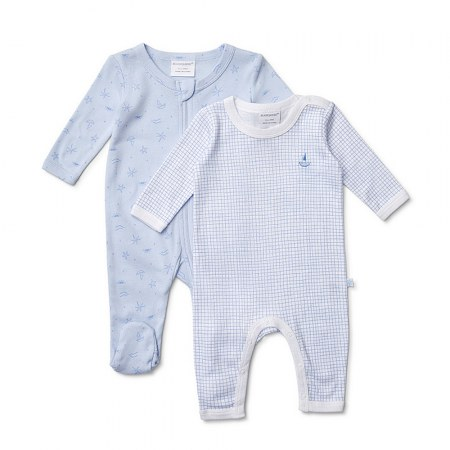 Marquise Boy Growsuit Sky Blue 2 Pack