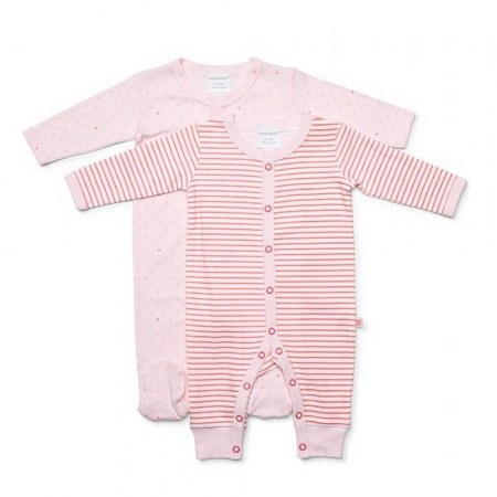 Marquise Girls Heart Stripes Growsuit 2 Pack