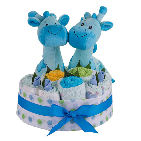 Twin Blue Giraffe Nappy Cake