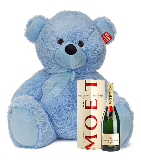 Large Blue Bear with Moet