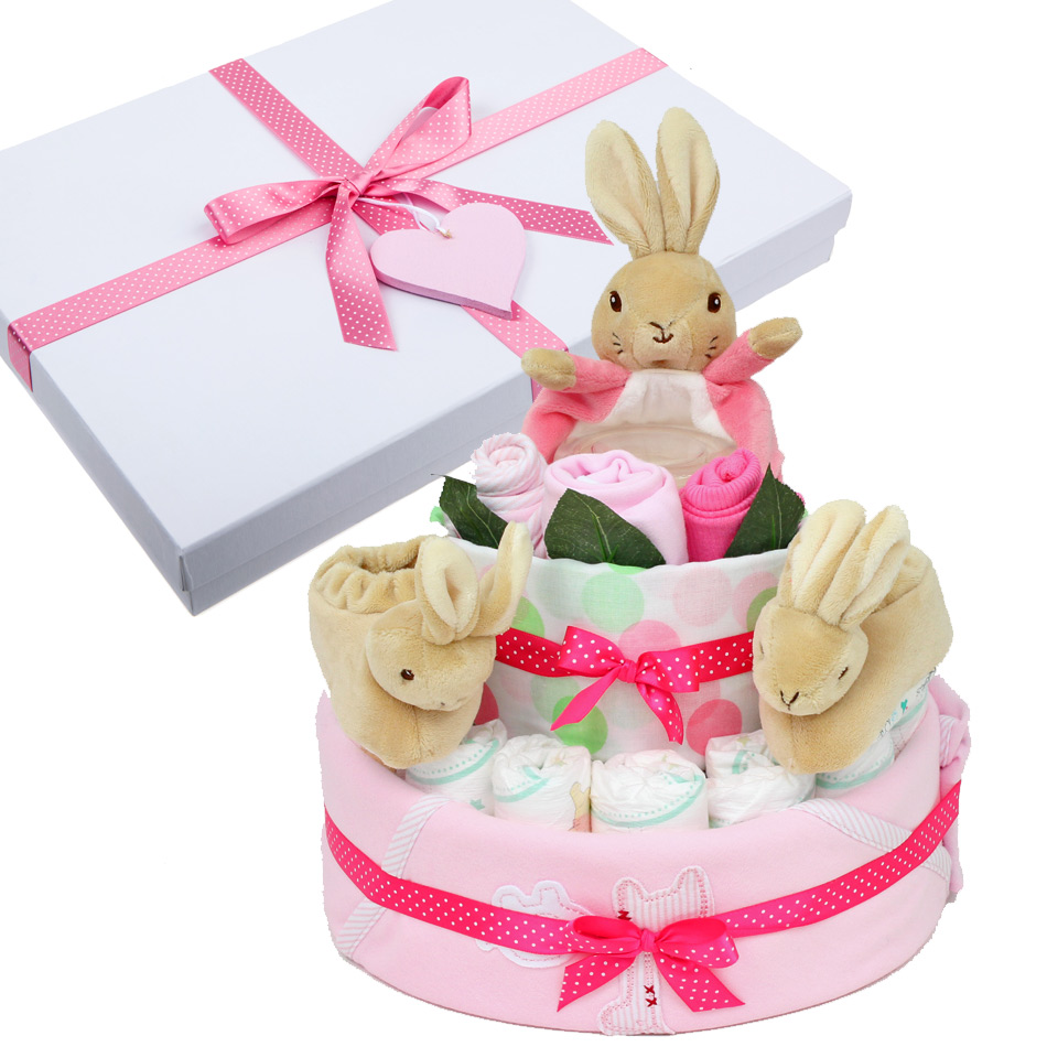 Peter Rabbit Nappy Cake for a Girl