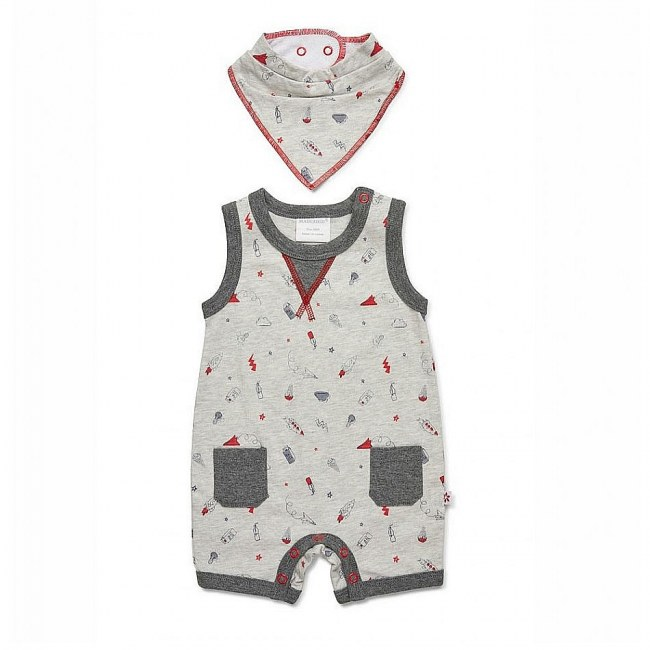 Marquise Scribble Sleeveless Romper And Bib