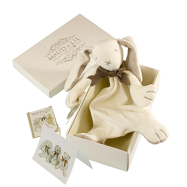 Boxed Bunny Comforter by Maud N Lil in Grey