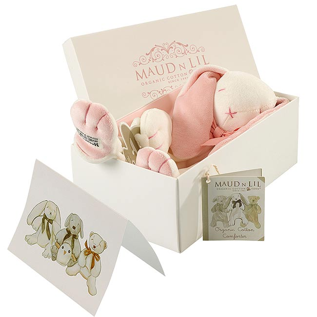 Boxed Bunny Comforter by Maud N Lil in Pink