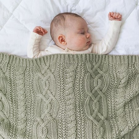Reilly Mint Cable Knit Blanket