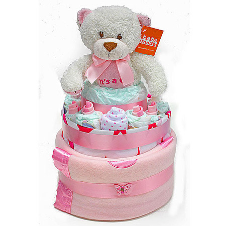 Large Pink Nappy Cake