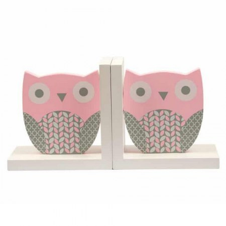 Pink Owl Wooden Book End