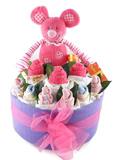 Pink Mouse Nappy Cake