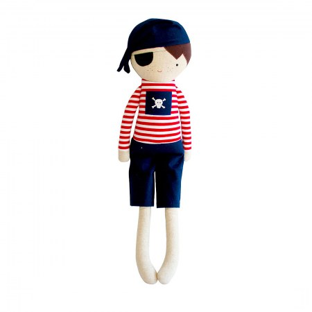 Pirate Boy Doll Rattle 30cm Navy Red