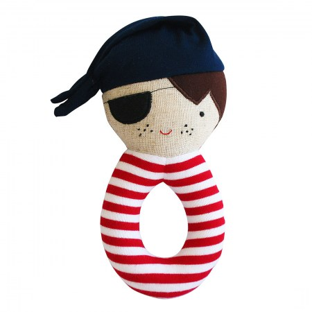Linen Pirate Grab Rattle Navy & Red