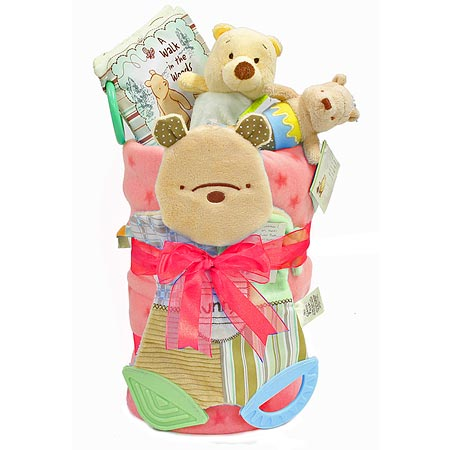 Pooh Bear Nappy Cake for a Girl