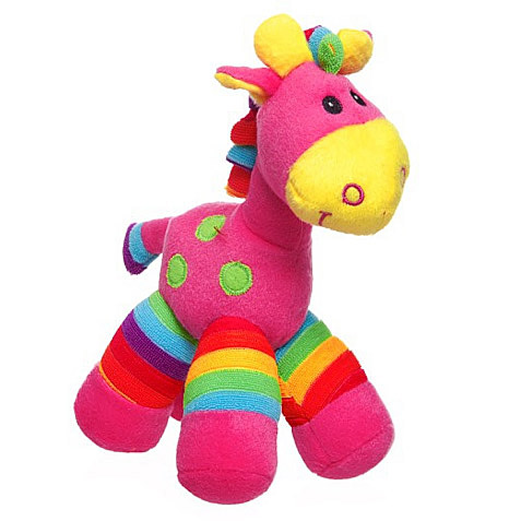 Rainbow Giraffe in Pink Stripes
