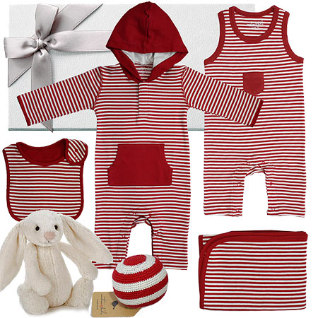 Emotion and Kids Red French Stripe Hamper