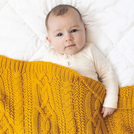 Reilly Mustard Cable Knit Blanket