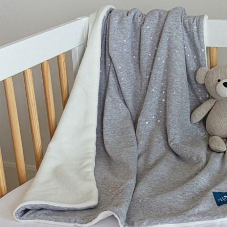 Jersey Sherpa Blanket in Grey Stars